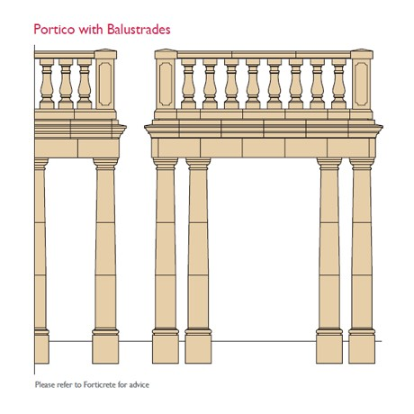 cast stone portico with balustrade