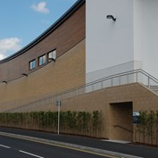A Tesco built using split face, shot blasted and polished concrete block